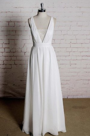 Sleeveless Lace Deep V-Neck A-Line Chiffon Wedding Dress
