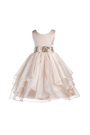 Scoop Sequined Organza Natural Waist A-Line Flower Girl Dress