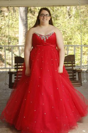Beading Organza Natural Waist Plus Size Sweetheart Prom Dress
