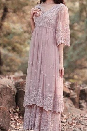 Simple Embroidery Floor Length A-Line Flowers Bridesmaid Dress