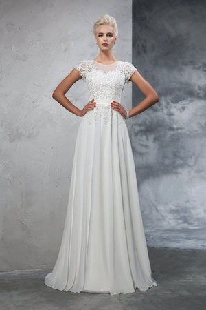 Appliques Empire Waist A-Line Short Sleeves Chiffon Wedding Dress