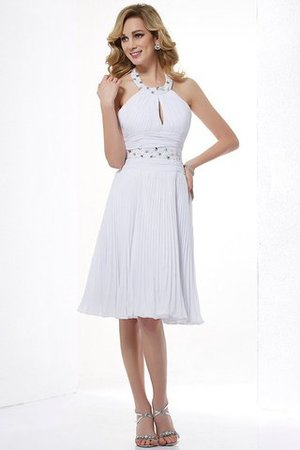 Natural Waist Beading Halter Sleeveless Chiffon Bridesmaid Dress