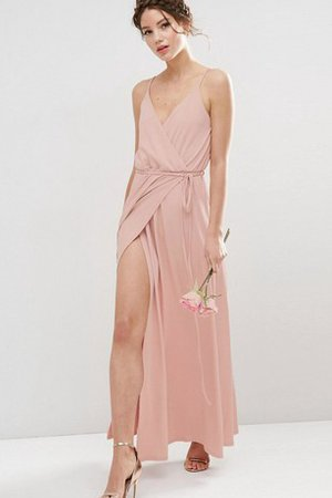 Ruched A-Line Split Front Elegant & Luxurious Simple Bridesmaid Dress