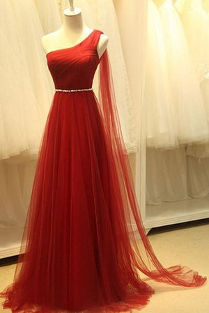 Beading Tulle Sleeveless One Shoulder A-Line Prom Dress