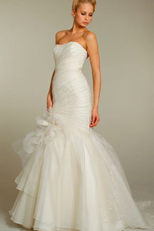 Court Train Backless Asymmetrical Tiered Organza Wedding Dress