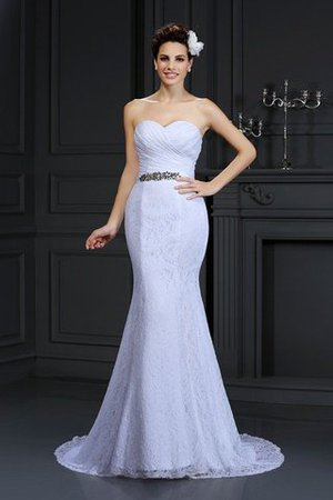 Empire Waist Sleeveless Sweetheart Mermaid Lace Wedding Dress