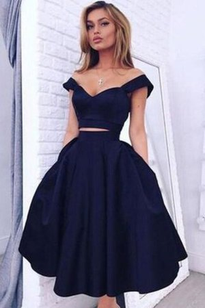 Off The Shoulder 2 Piece Sleeveless Princess Knee Length Party Dress