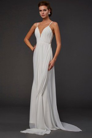 Floor Length Chiffon Backless V-Neck Ruffles Evening Dress