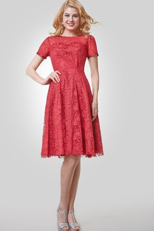 Lace Bateau Knee Length Elegant & Luxurious Short Sleeves Cocktail Dress