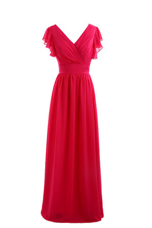 Pleated Short Sleeves Chic & Modern Swing Chiffon Evening Dress