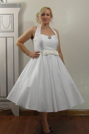 Sashes Plus Size Ruched Halter Taffeta Wedding Dress