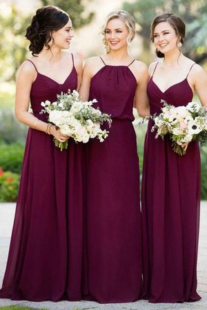 Chiffon Sleeveless A-Line Natural Waist Floor Length Bridesmaid Dress
