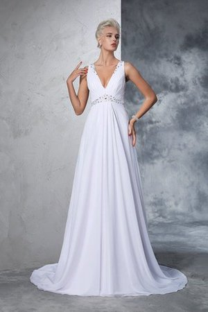 Cathedral Train Natural Waist A-Line Chiffon Wedding Dress