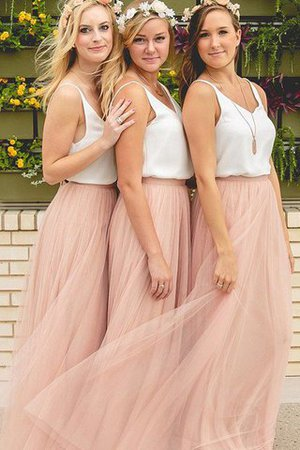 Sleeveless A-Line Tulle V-Neck Bridesmaid Dress