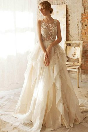 Scoop Ruffles A-Line Sexy Embroidery Wedding Dress