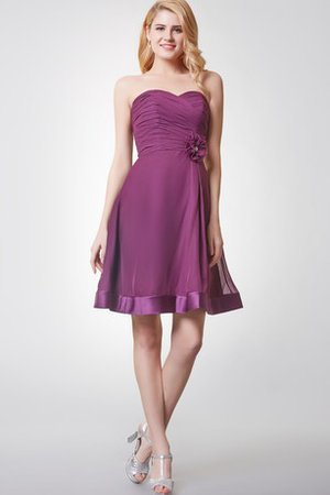 Criss-Cross Flowers Simple Sweetheart Chiffon Bridesmaid Dress