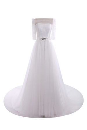 Long Formal Pleated Bodice Floor Length Demure Wedding Dress