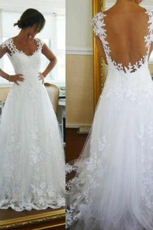 Natural Waist V-Neck A-Line Tulle Wedding Dress
