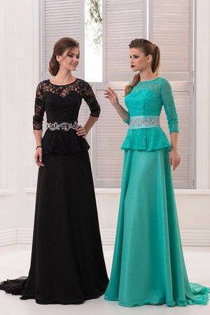 Natural Waist Crystal Sweep Train A-Line 3/4 Length Sleeves Prom Dress