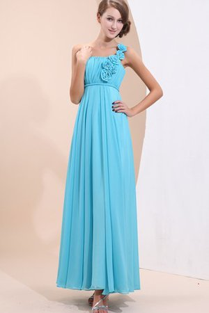 Ankle Length Simple Spaghetti Straps Flowers Chiffon Evening Dress