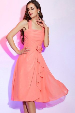 Chiffon Wide Straps Draped Knee Length Bridesmaid Dress