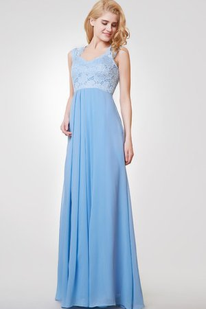 Long Floor Length Lace Queen Anne Chiffon Prom Dress