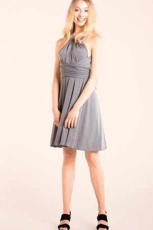 Ruffles Halter Simple Backless Ruched Bridesmaid Dress