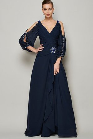 Beading Natural Waist Ankle Length V-Neck Chiffon Prom Dress