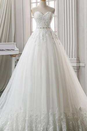 A-Line Lace Organza Lace-up Sweetheart Wedding Dress