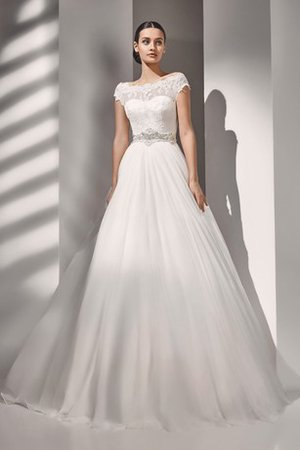 Sweep Train Modest Crystal Floor Length Natural Waist Wedding Dress