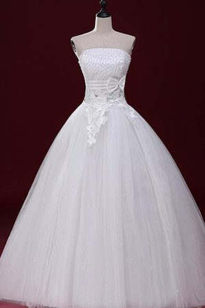 Spaghetti Straps Natural Waist Beading Floor Length Lace Wedding Dress