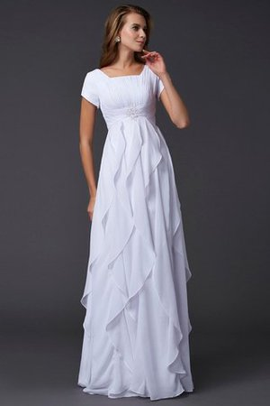 Square Floor Length Chiffon Short Sleeves Zipper Up Evening Dress