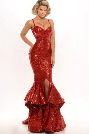 Cascading Ruffle Sequined Spaghetti Straps Elegant & Luxurious Sweep Train Evening Dress
