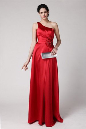 Lace-up Sheath Pleated Elastic Woven Satin Natural Waist Bridesmaid Dress