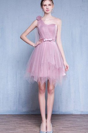 Lace-up One Shoulder Sashes Tulle Bridesmaid Dress