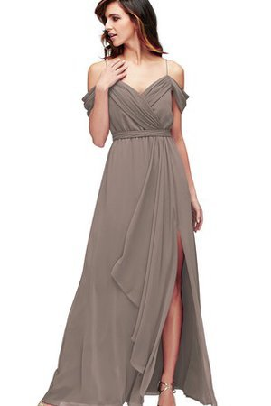 Romantic Floor Length Ruffles Ruched Split Front Bridesmaid Dress
