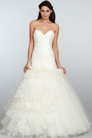 Dropped Waist Sleeveless A-Line Backless Ruched Wedding Dress