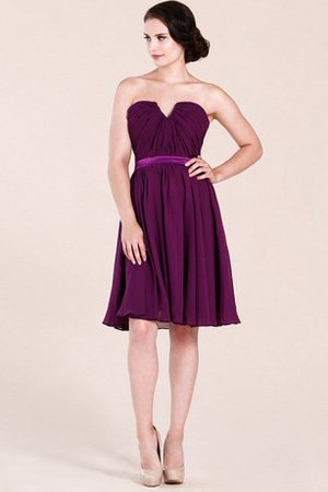 Knee Length Notched Simple Ruched Strapless Homecoming Dress