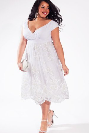 Informal & Casual Plus Size Simple Tea Length Empire Wedding Dress