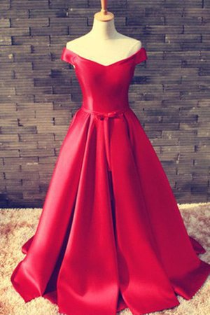 Satin Ruffles A-Line Lace-up Accented Bow Evening Dress