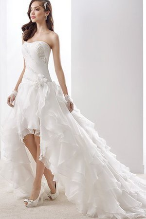 A-Line Split Front High Low Beading Chiffon Wedding Dress