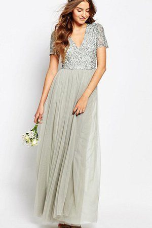 A-Line Chiffon Sequined Short Sleeves Beading Bridesmaid Dress