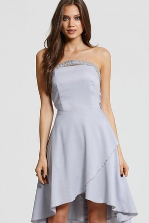 Short Scalloped-Edge High Low Beading Bridesmaid Dress