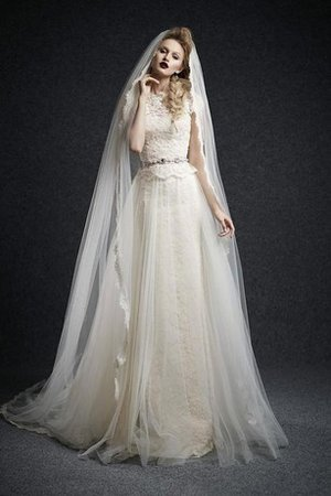 A-Line Lace Tulle Jewel Capped Sleeves Wedding Dress