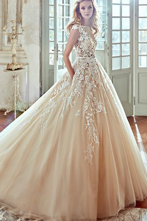 Short Sleeves Elegant & Luxurious Capped Sleeves Ball Gown Flowers Wedding Dress
