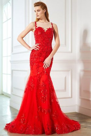 Sleeveless Tulle Mermaid Natural Waist Appliques Evening Dress