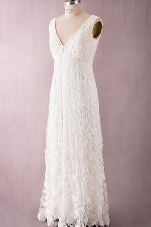 Floor Length Sleeveless Empire Lace Fabric Split Front Wedding Dress