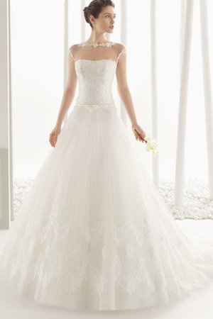 Floor Length Sheer Back Embroidery Outdoor Dropped Waist Wedding Dress