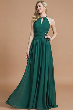 Floor Length A-Line Scoop Natural Waist Bridesmaid Dress