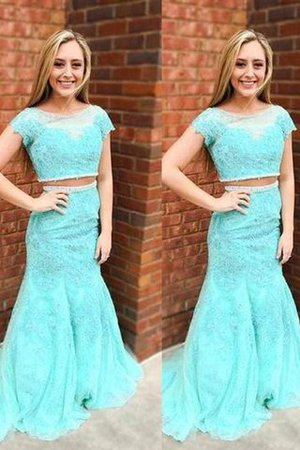 Lace Mermaid Beading Sweep Train Natural Waist Evening Dress